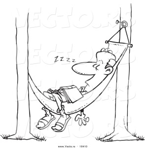 vector-of-a-cartoon-man-snoozing-in-a-hammock-outlined-coloring-page-by-toonaday-18410
